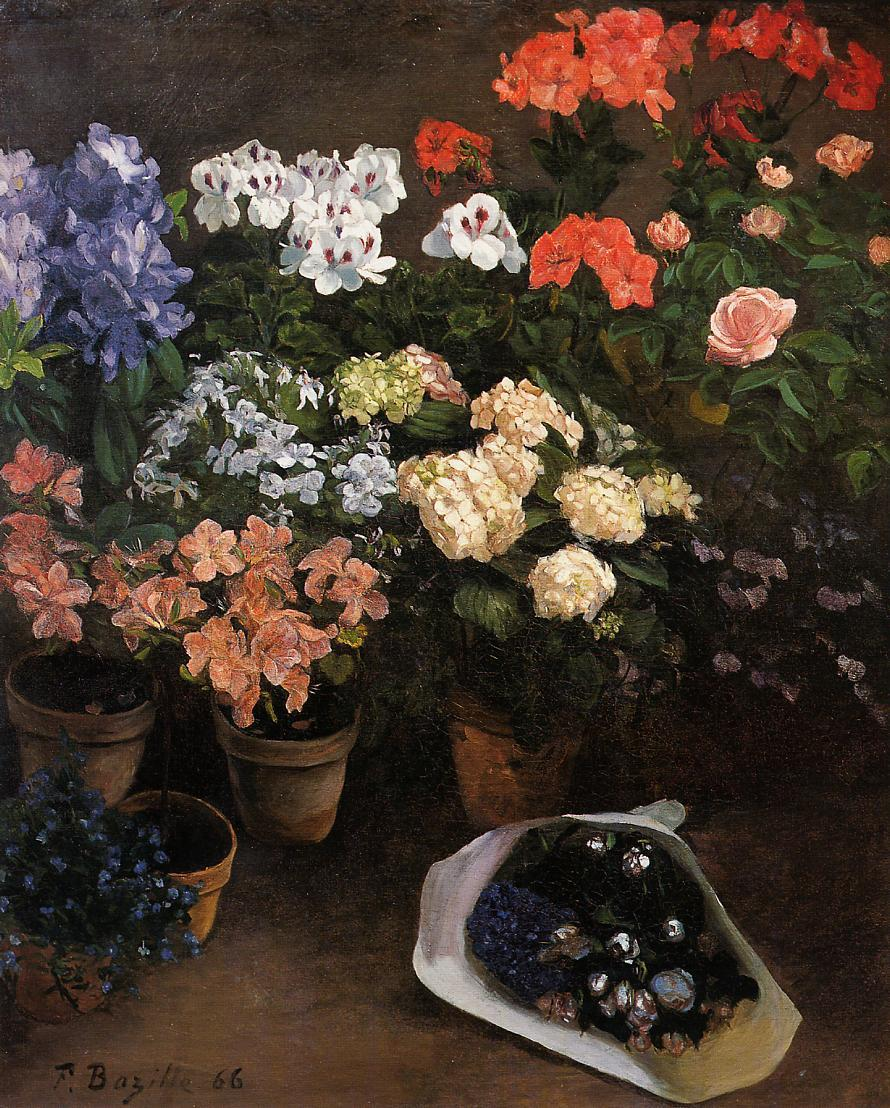 Study of Flowers 1866 | Jean Frederic Bazille | Oil Painting