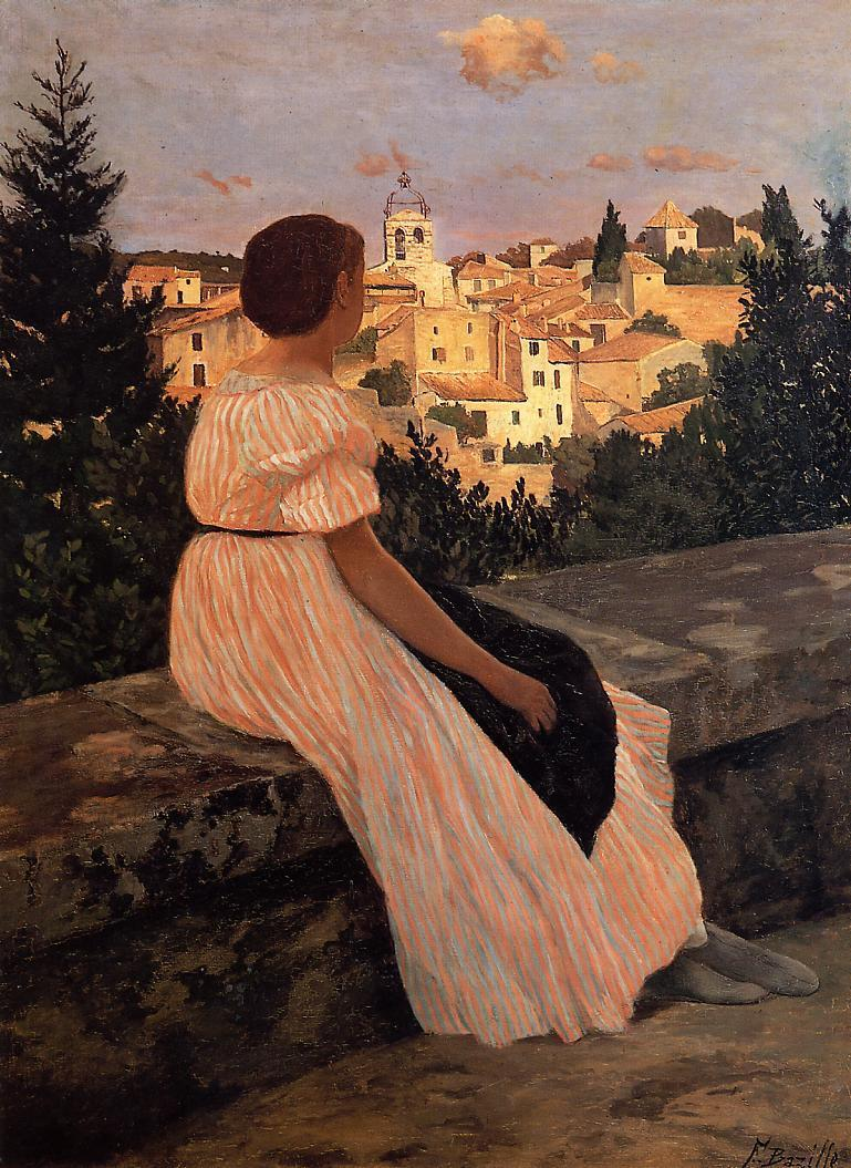 The Pink Dress 1864 | Jean Frederic Bazille | Oil Painting