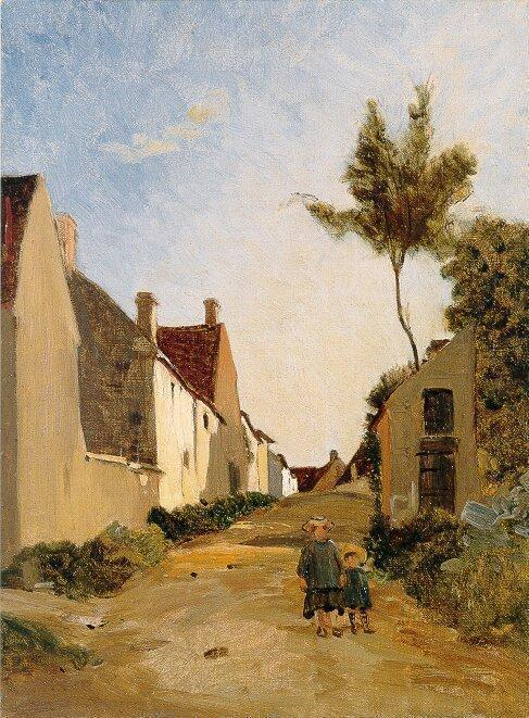 Village Street (aka Chailly) 1865 | Jean Frederic Bazille | Oil Painting