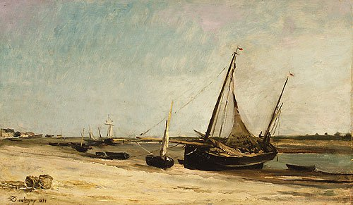 Boats on the Seacoast at aples 1871 | Charles Francis Daubigny | Oil Painting