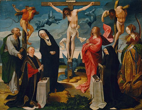 The Crucifixion with Donors and Saints Peter and Margaret ca 1525 | Cornelis Engebrechtsz | Oil Painting