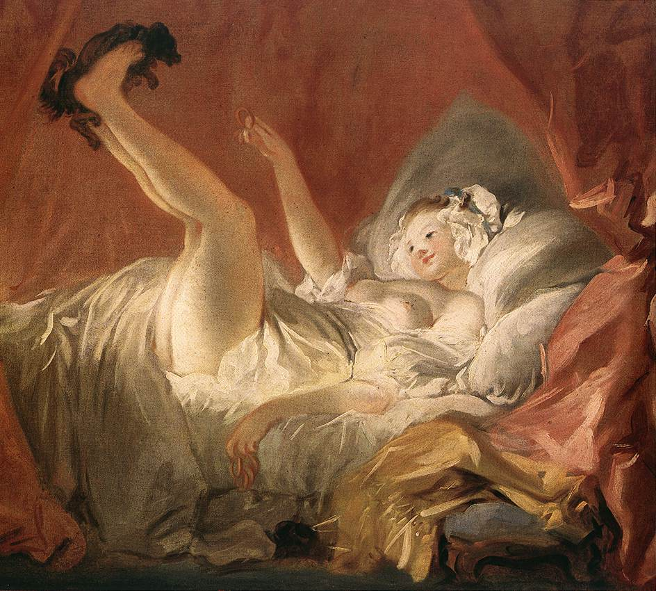 Young Woman Playing With A Dog 1765-72 | Jean Honore Fragonard | Oil Painting
