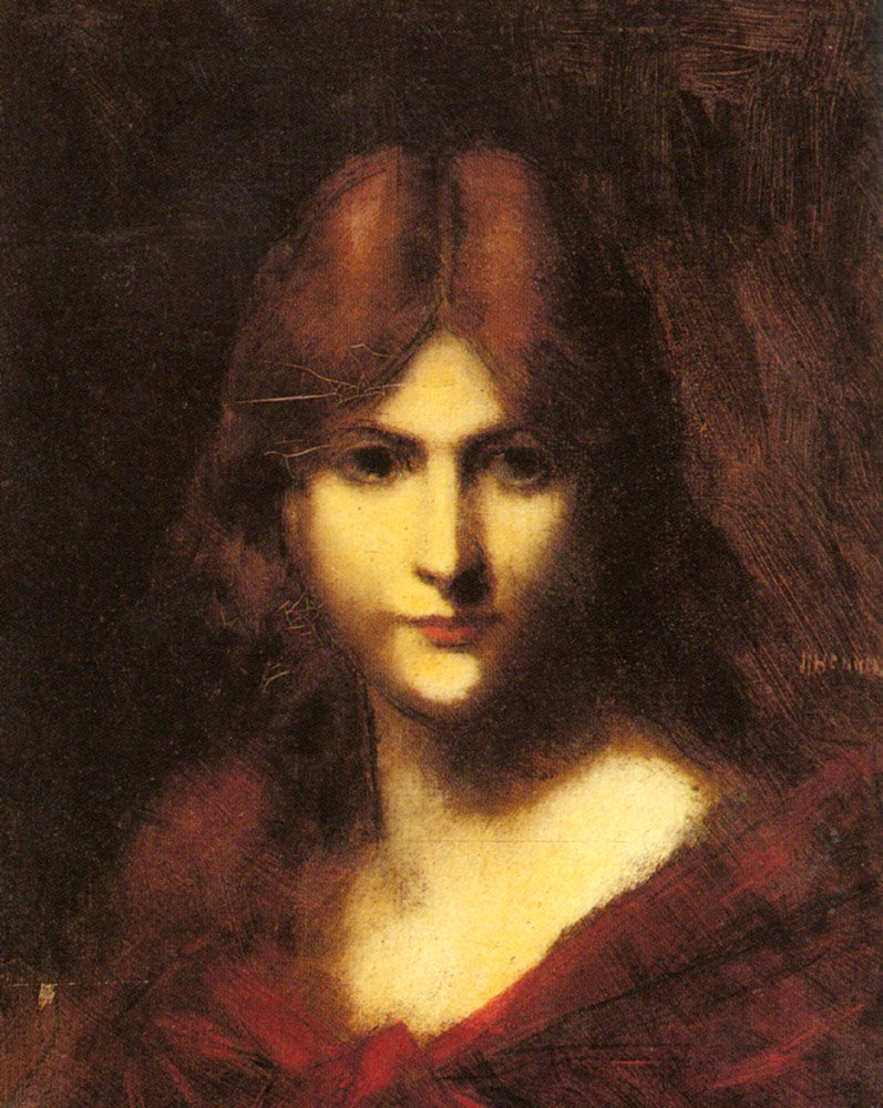 A Red haired Beauty | Jean Jacques Henner | Oil Painting