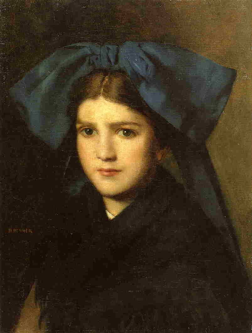 Portrait of a Young Girl with a Bow in Her Hair | Jean Jacques Henner | Oil Painting