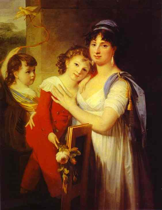 Portrait Of Anna Muravyova Apostol (1770s-1810) With Her Son Mathew (1793-1886) And Her Daughter Catherine (1794-1849) 1799 | Jean-Laurent Mosnier | Oil Painting