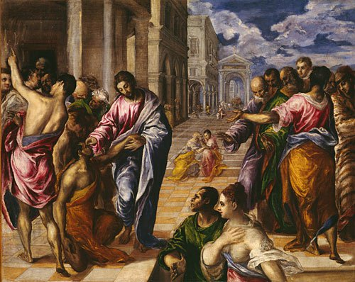 The Miracle of Christ Healing the Blind possibly ca 1570 | El Greco | Oil Painting