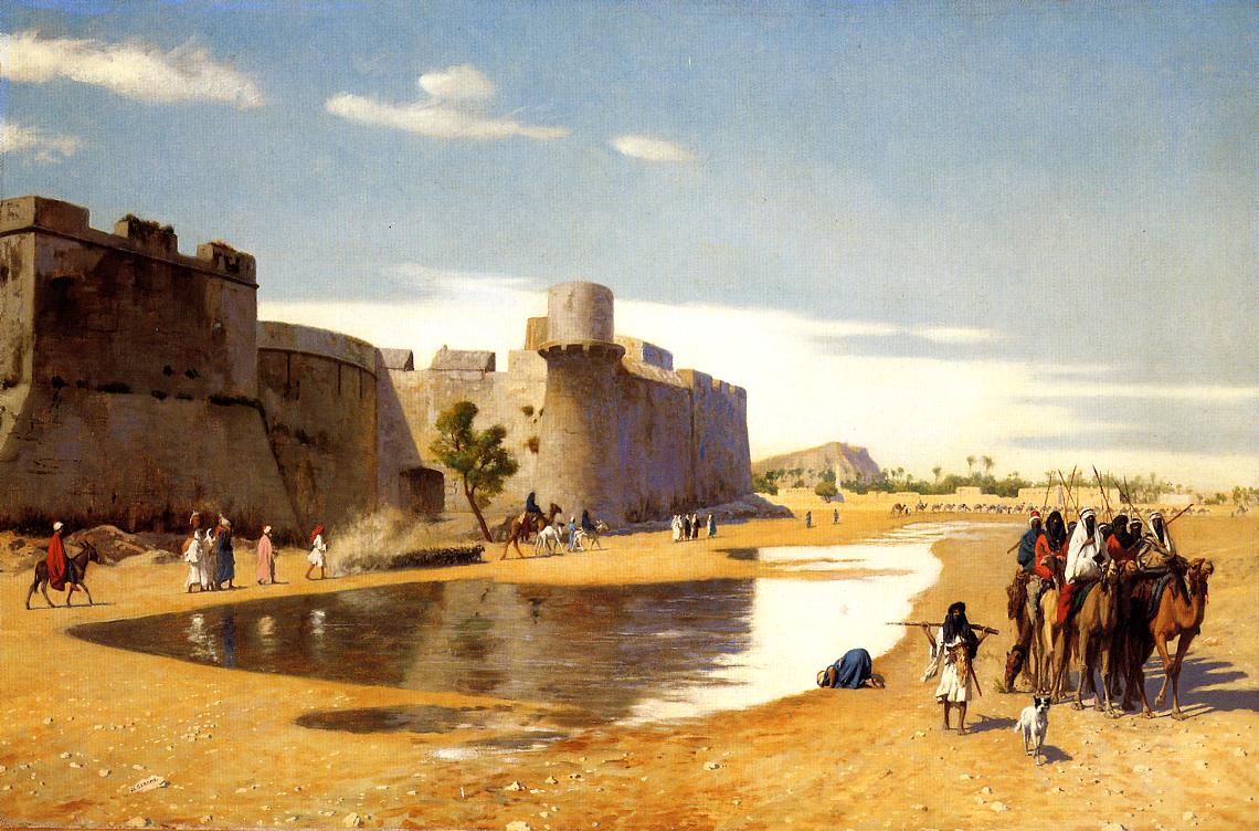 An Arab Caravan outside a Fortified Town Egypt | Jean Leon Gerome | Oil Painting