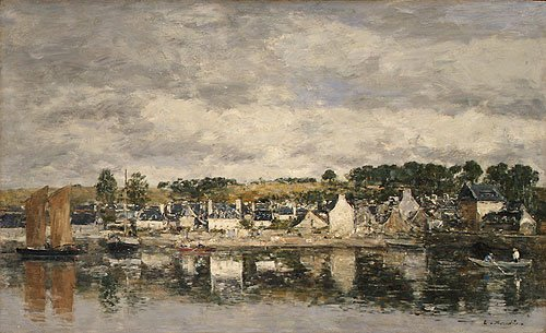 Village by a River probably 1867 | Eugee Boudin | Oil Painting