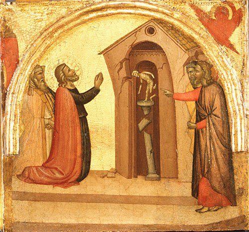 Saint John the Evangelist Causes a Pagan Temple to Collapse ca 1370 | Francescuccio Ghissi | Oil Painting