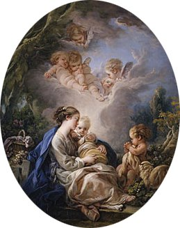 Virgin and Child with the Young Saint John the Baptist and Angels 1765 | Francois Boucher | Oil Painting