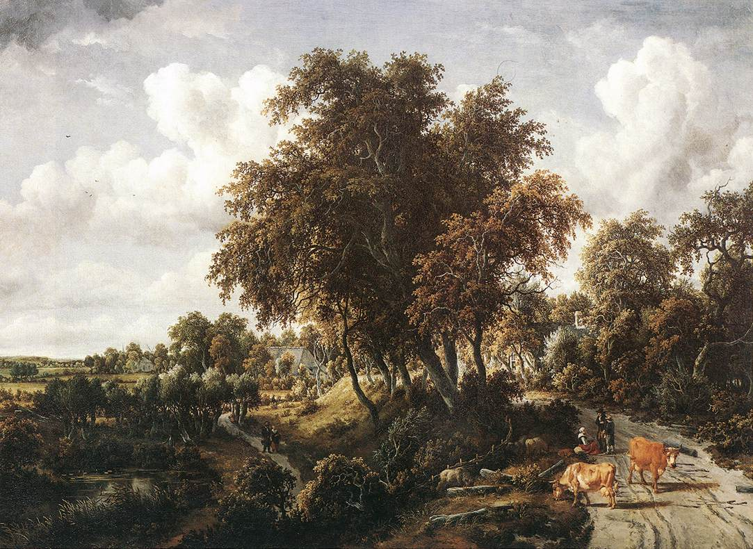 Road On A Dyke 1663 | Meyndert Hobbema | Oil Painting