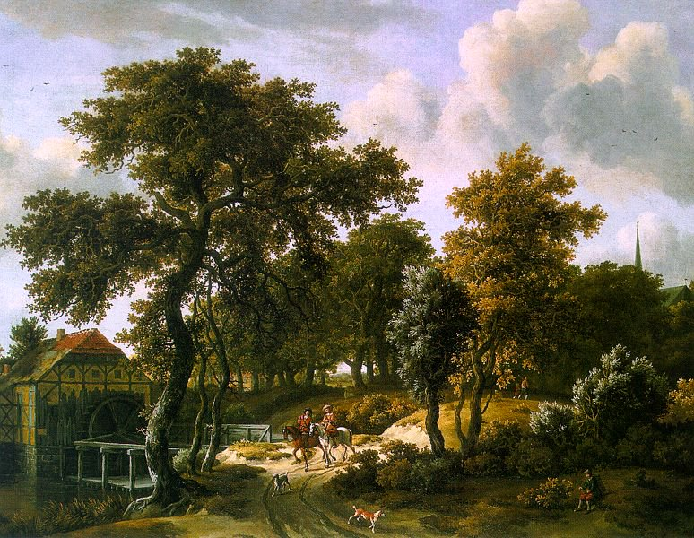 The Travelers 1663   Meyndert Hobbema   Oil Painting