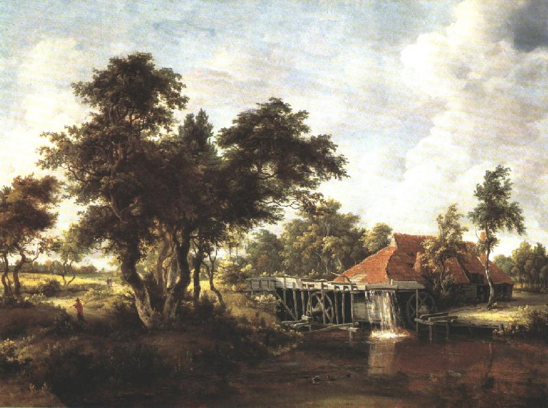 Wooded Landscape With Water Mill 1662-1664 | Meyndert Hobbema | Oil Painting