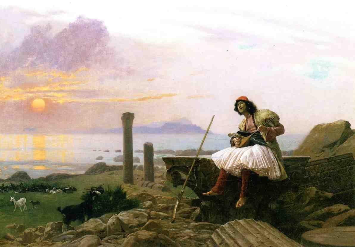 Guitar Player aka Greek Sinter 1893   Jean Leon Gerome   Oil Painting