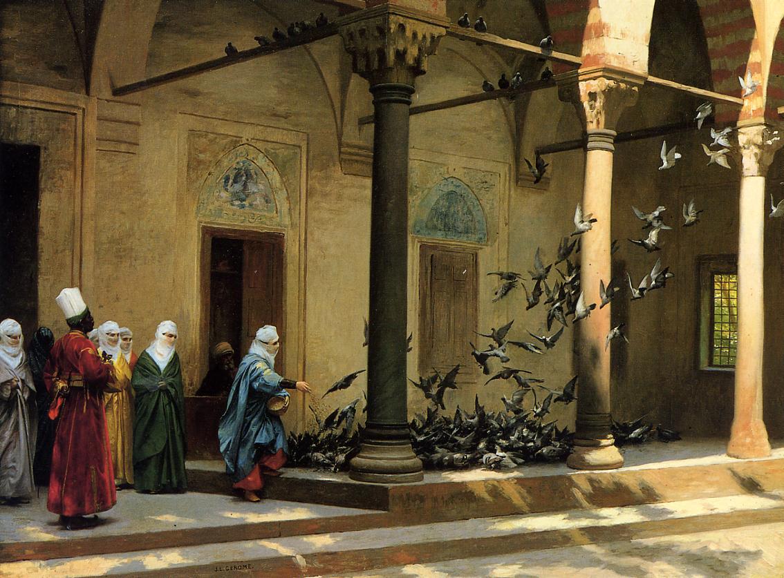 Harem Women Feeding Pigeons in a Courtyard 1894   Jean Leon Gerome   Oil Painting