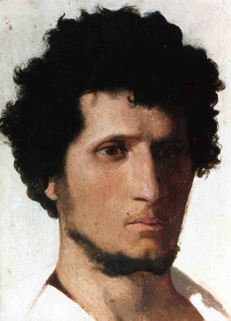 Head of a Peasant from the Roman Campagne 1843   Jean Leon Gerome   Oil Painting