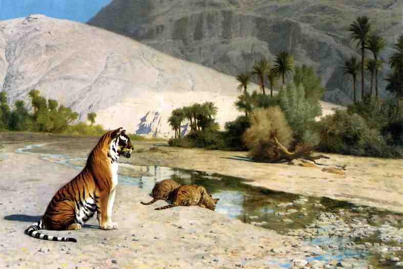 Thirst aka Tigress and Her Cubs 1899 | Jean Leon Gerome | Oil Painting