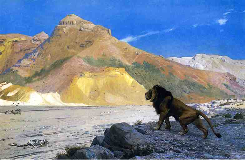 Lion on a Cliff | Jean Leon Gerome | Oil Painting