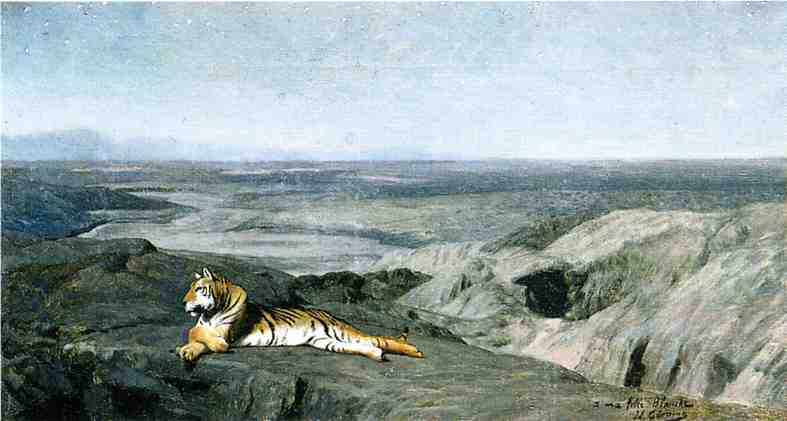 Night on the Desert study aka Tiger Resting in the Moonlight 1884 | Jean Leon Gerome | Oil Painting