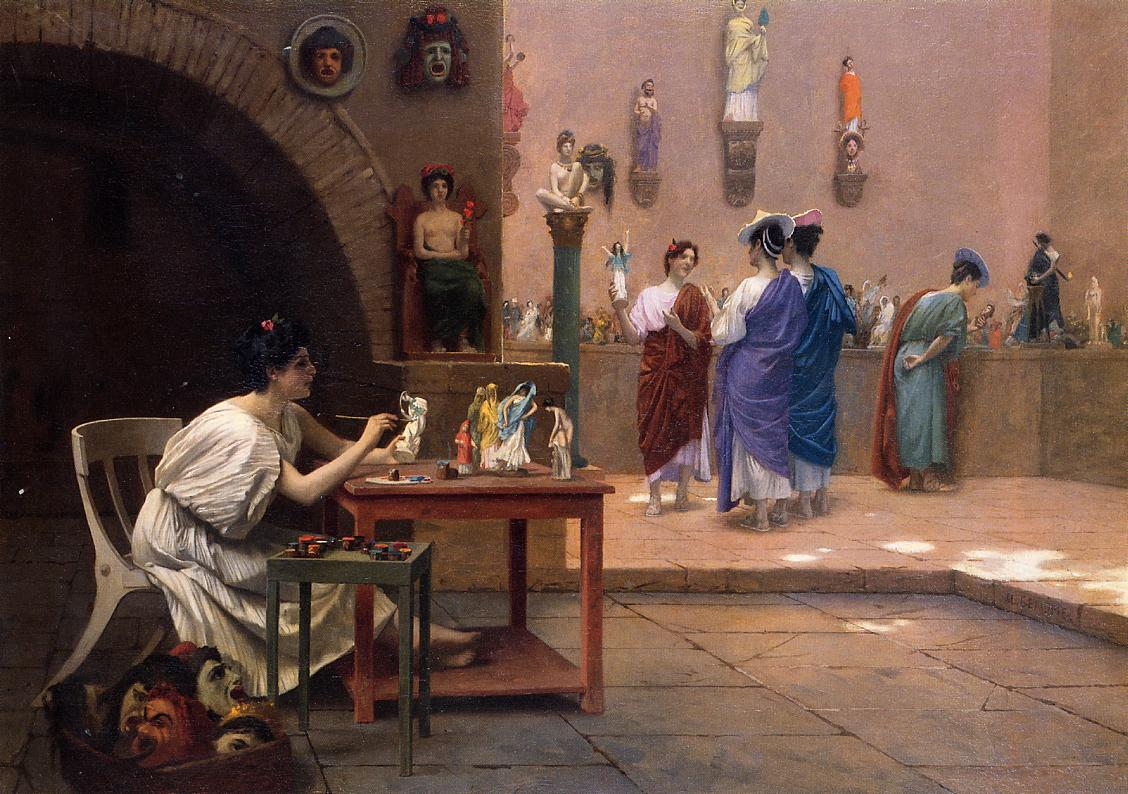 Painting Breathes Life into Sculpture aka Tanagra's Studio 1893 | Jean Leon Gerome | Oil Painting