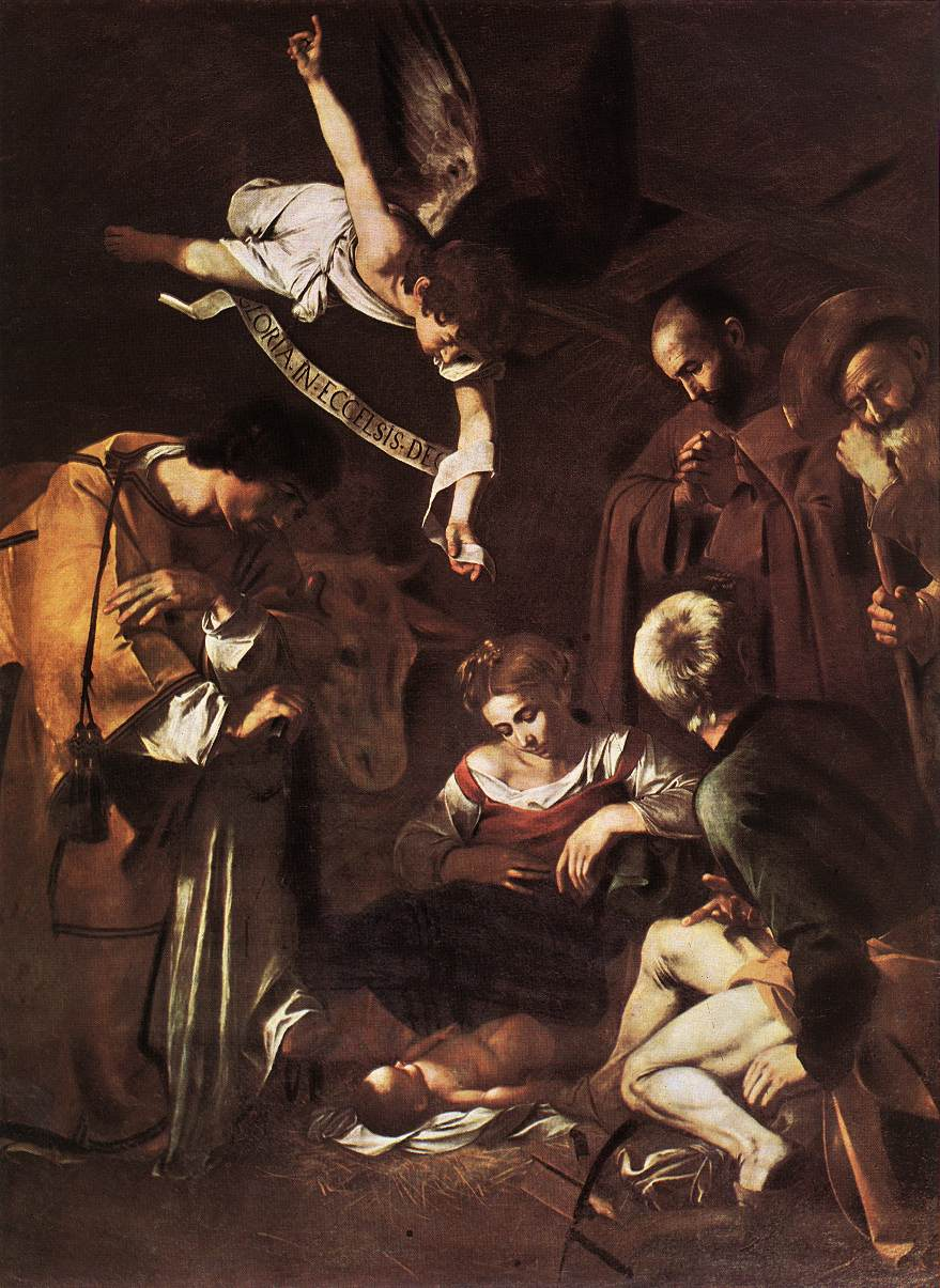 Nativity with St Francis and St Lawrence   Michelangelo Merisi da Caravaggio   Oil Painting