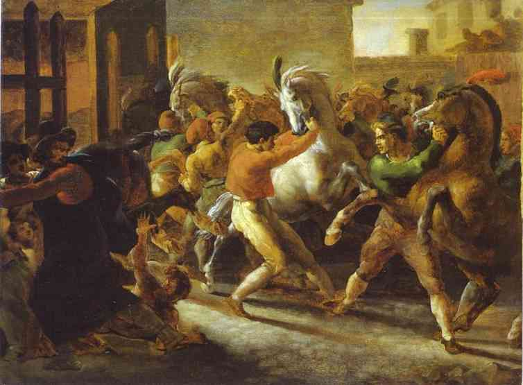 Horse Races In Rome 1817 | Jean Louis Andre Theodore Gericault | Oil Painting