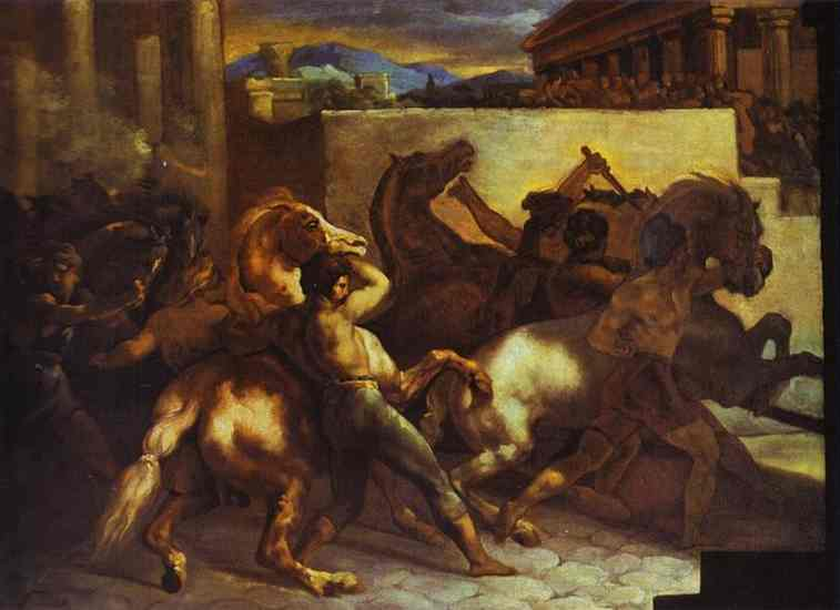 Race Of Wild Horses In Rome 1817 | Jean Louis Andre Theodore Gericault | Oil Painting