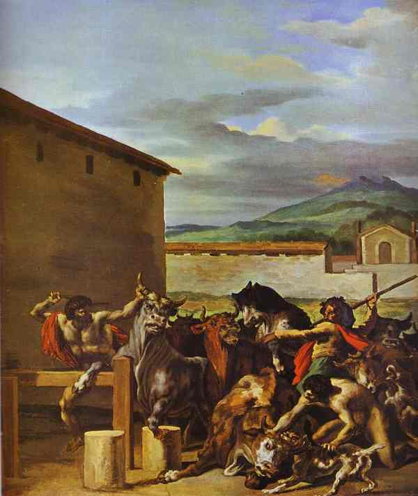 Taming Of The Bulls 1817 | Jean Louis Andre Theodore Gericault | Oil Painting