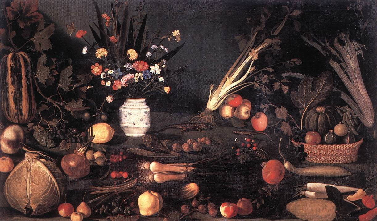 Still Life with Flowers and Fruit | Michelangelo Merisi da Caravaggio | Oil Painting