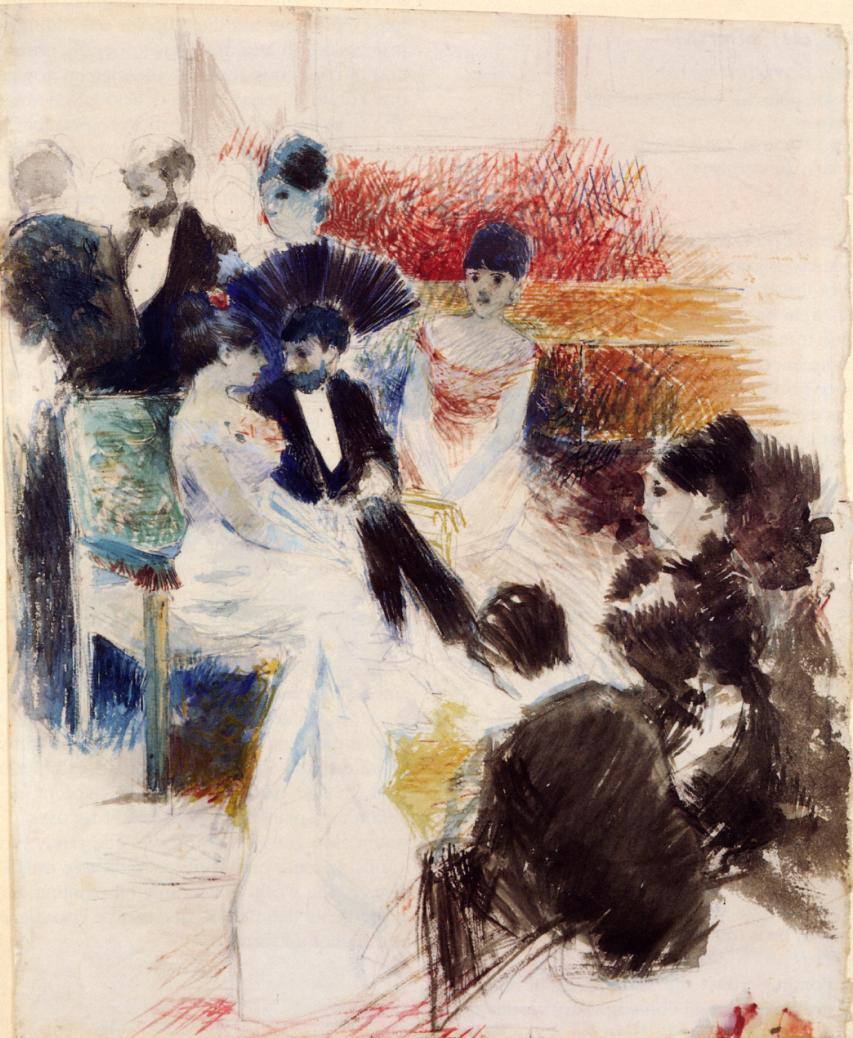 Parisian Salon  1878   Jean-Louis Forain   Oil Painting