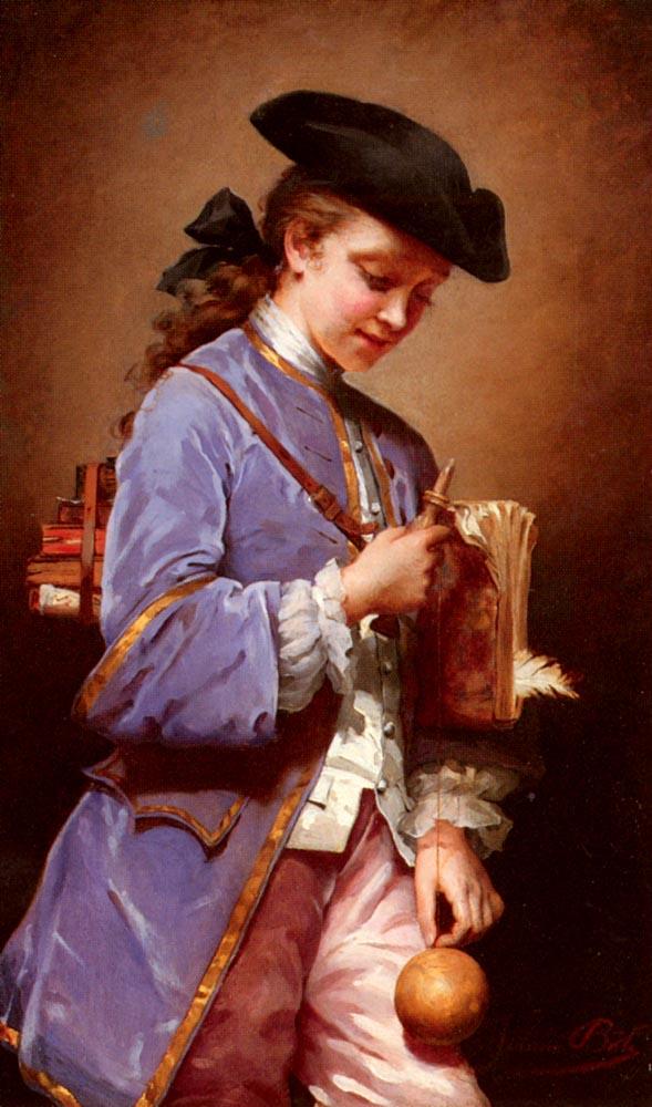 LEnfant Au Bilboquet   Jeanne Bole   Oil Painting