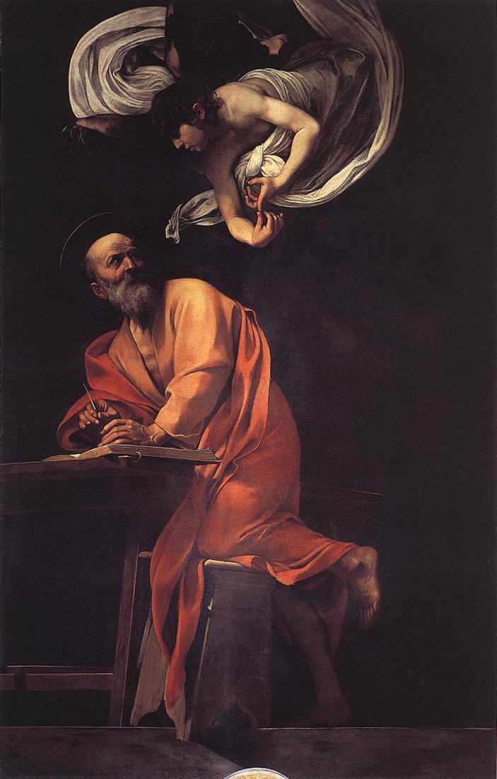 The Inspiration of Saint Matthew | Michelangelo Merisi da Caravaggio | Oil Painting
