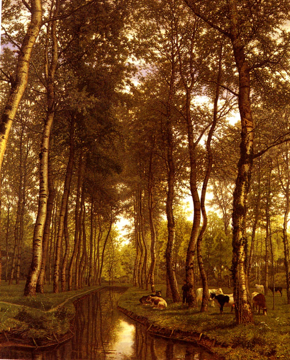 Bois De Trembles Au Bord Du Canal   Jean-Pierre-Francois Lamoriniere   Oil Painting