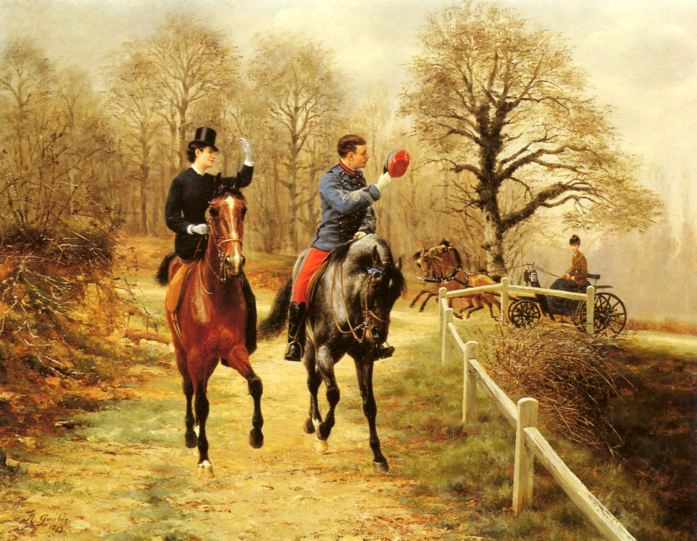 An Afternoon Ride | Jean Richard Goubie | Oil Painting