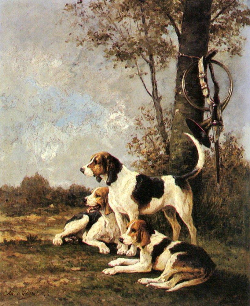 Waiting For Master   Jean Victor Albert De Gesne   Oil Painting