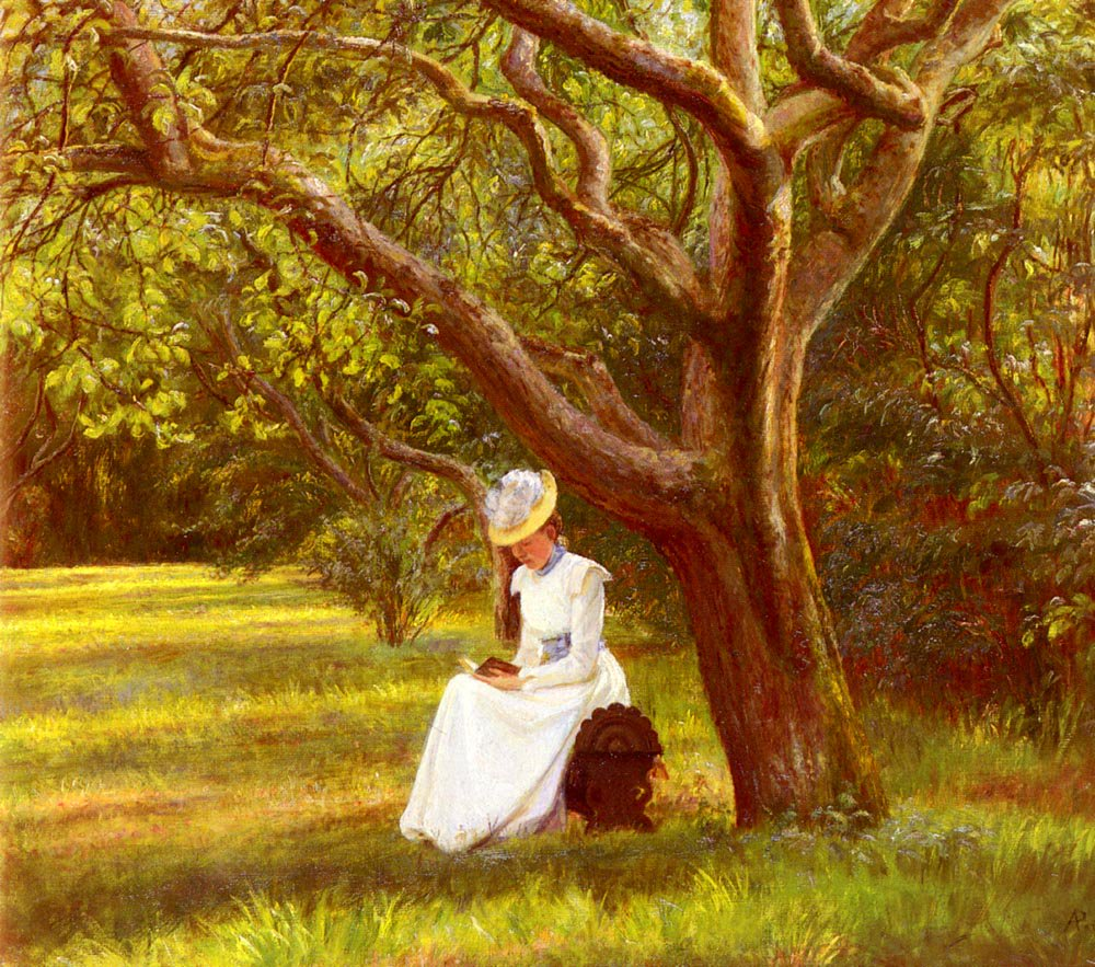 Reading In The Park | Micholine Anemine Christine Poulsen | Oil Painting