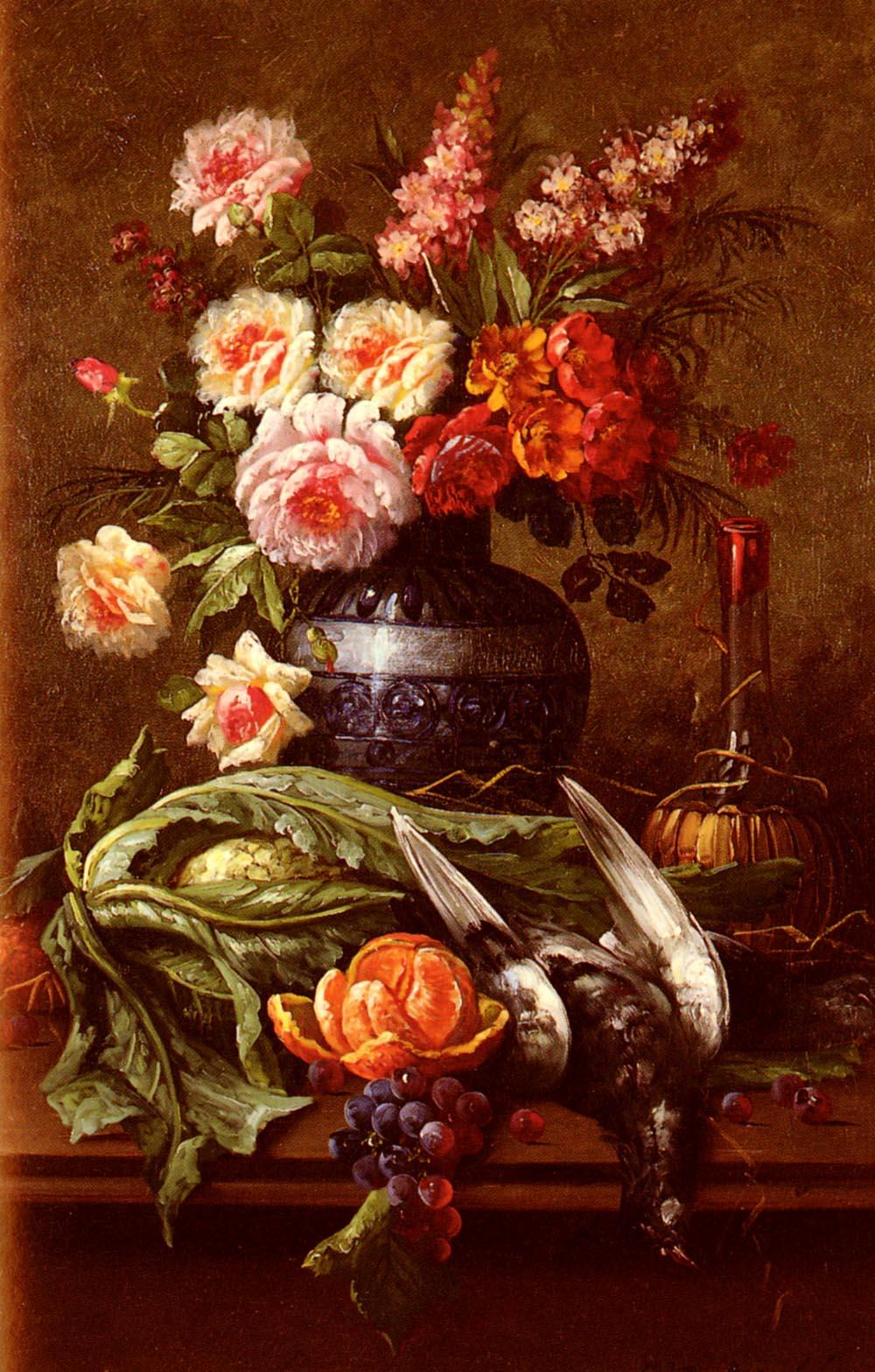 Nature Morte Aux Fleurs Et A LOrange | Modeste Carlier | Oil Painting