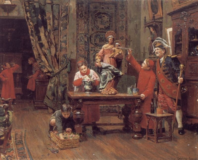 Choirboys in the Sacristy | Moreau Paul Charles Chocarne | Oil Painting