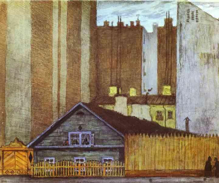 A Cottage In St Petersburg 1905 | Mstislav Dobuzhinsky | Oil Painting