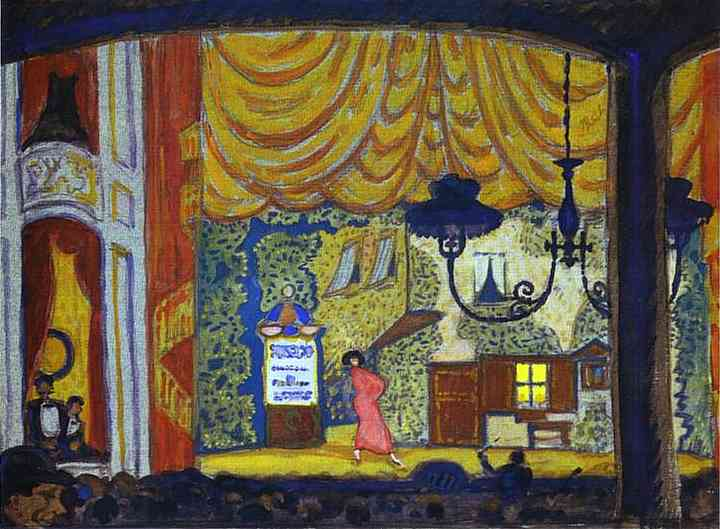 Denmark A Small Theatre 1912 | Mstislav Dobuzhinsky | Oil Painting
