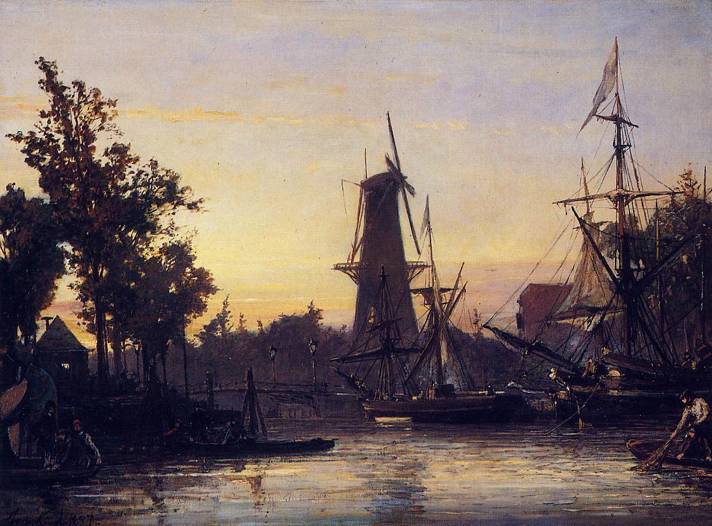 Binneshave Rotterdam 1857 | Johan-Berthold Jongkind | Oil Painting