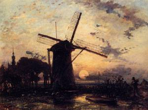 Boatman by a Windmill at Sundown  1859 | Johan-Berthold Jongkind | Oil Painting