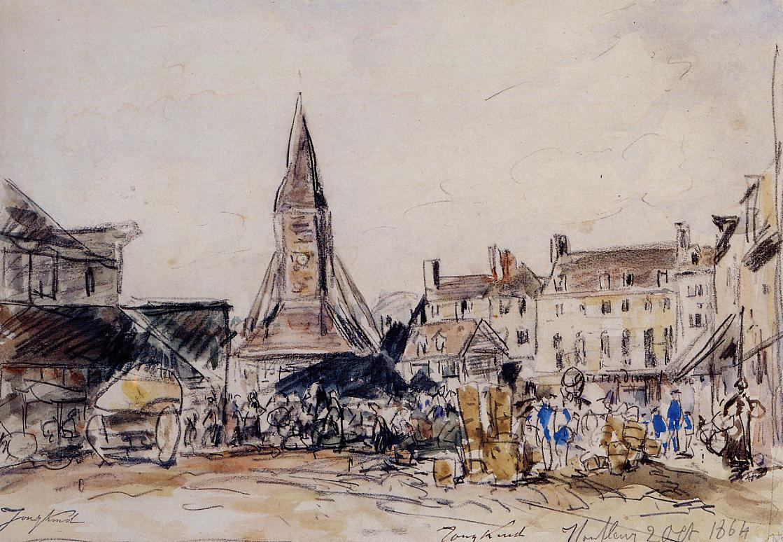 Honfleur Market Place  1864 | Johan-Berthold Jongkind | Oil Painting