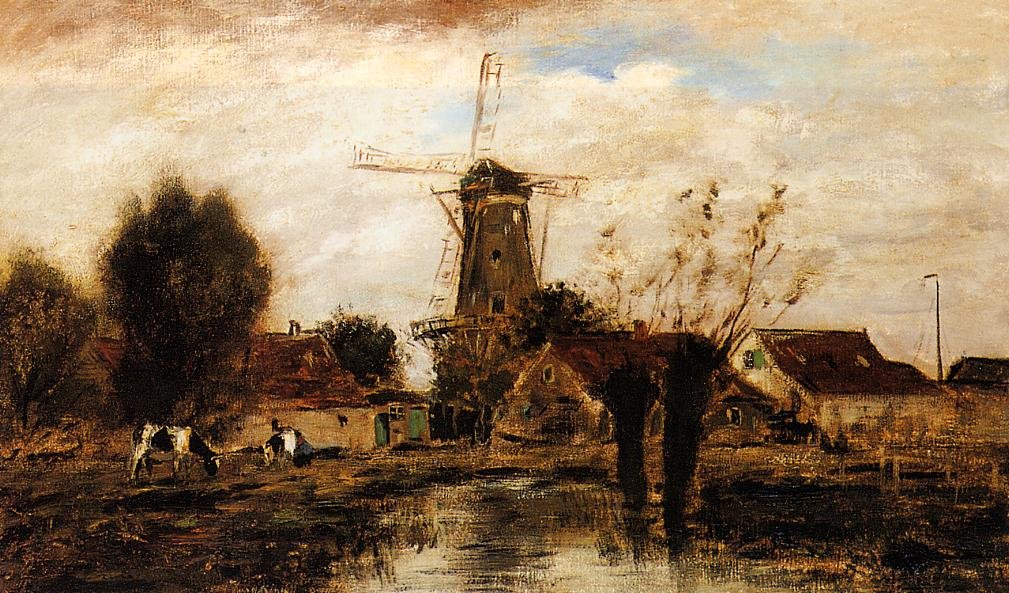 Landscape with Windmill | Johan-Berthold Jongkind | Oil Painting