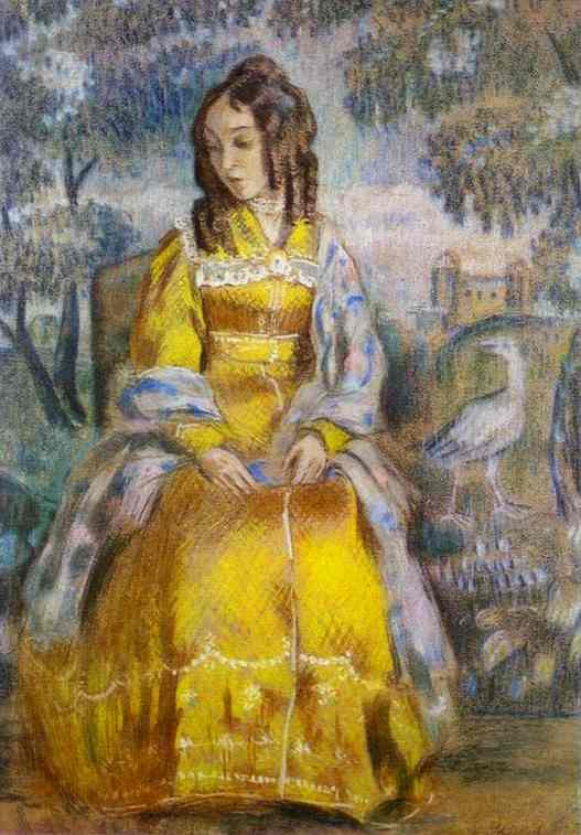 Lady Seated With A Tapestry In The Background 1903 | Musatov Victor Borisov | Oil Painting