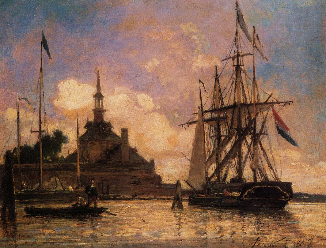 The Port of Rotterdam  1857 | Johan-Berthold Jongkind | Oil Painting
