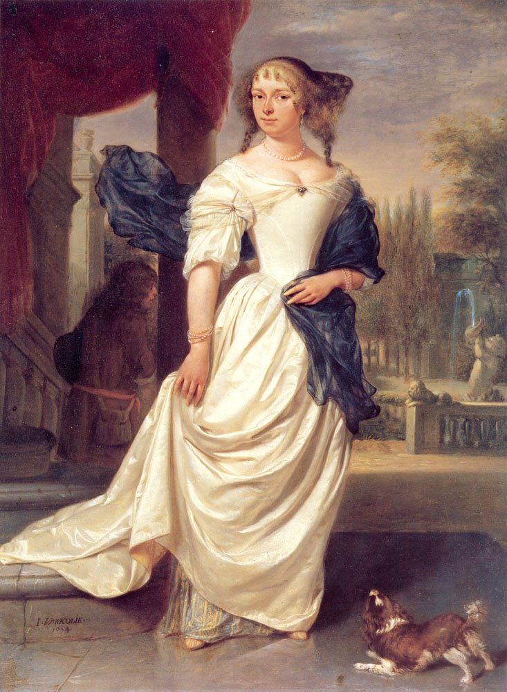 Portrait of Margaretha Delff Wife of Johan de la Faille   Johannes Verkolje   Oil Painting