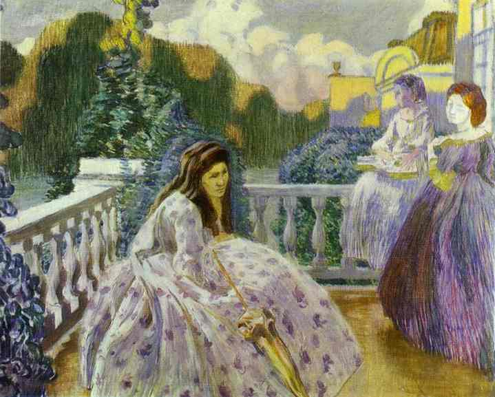 Three Ladies On The Terrace 1903 | Musatov Victor Borisov | Oil Painting