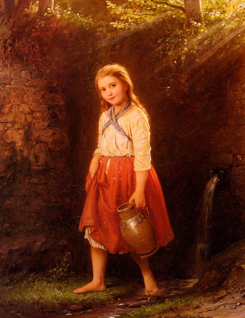 Madchen Mit Wasserkrug | Johann Georg Meyer Von Bremen | Oil Painting