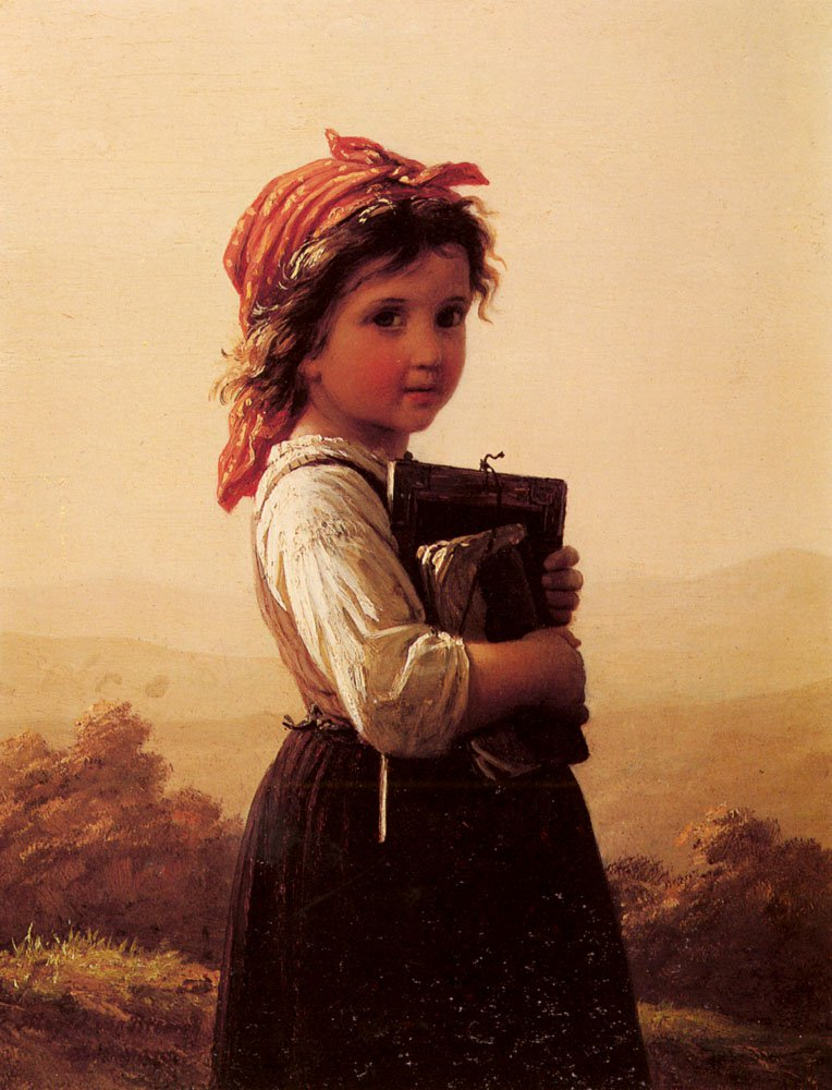 A Little Schoolgirl | Johann Georg Meyer Von Bremen | Oil Painting